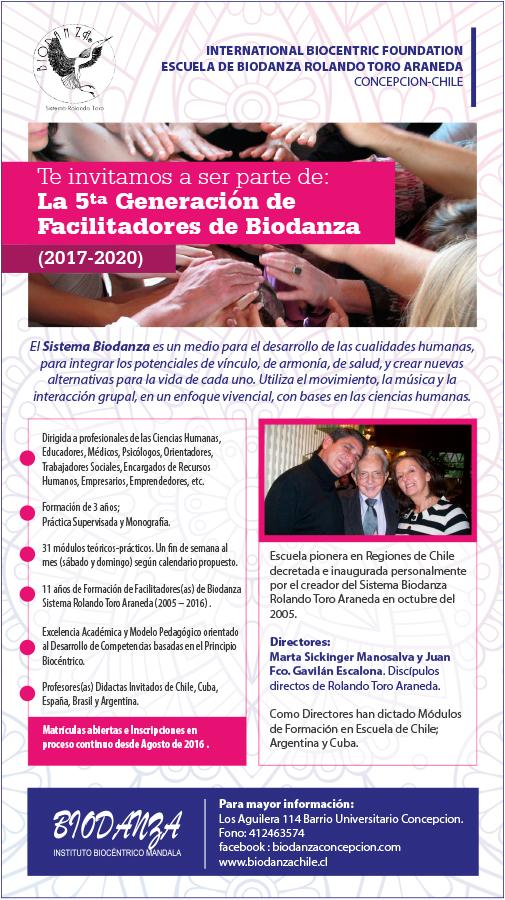Afiche invitación curso 5ta  generación de facilitadores de biodanza